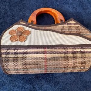 BAMBOO PURSE with wooden handles